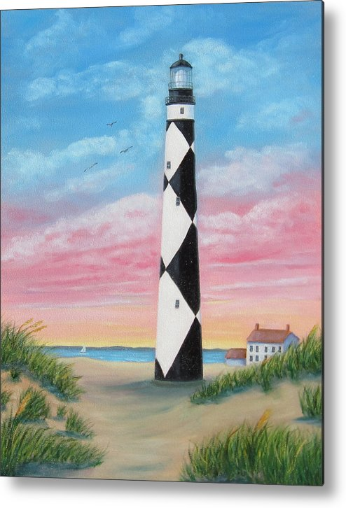 Cape Lookout Metal Print featuring the painting Cape Lookout Sunset by Fran Brooks