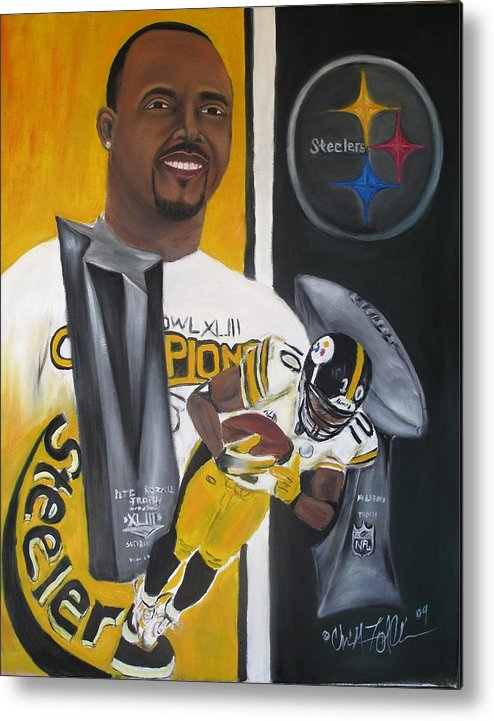 Football Metal Print featuring the painting Catching Six by ChrisMoses Tolliver