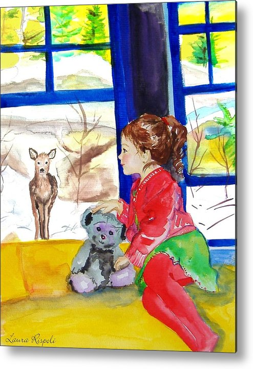 Christmas Metal Print featuring the painting Childhood by Laura Rispoli