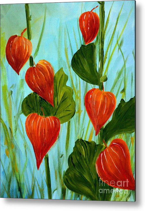 Nightshade Metal Print featuring the painting Chinese Lanterns by Claire Bull
