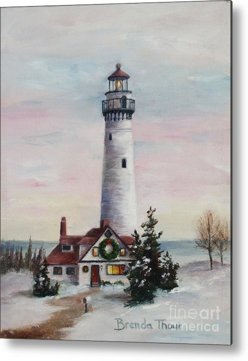 Lighthouse Metal Print featuring the painting Christmas Light by Brenda Thour