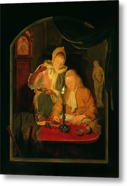 Interior Metal Print featuring the photograph Couple Counting Money By Candlelight, 1779 Panel by Michiel Versteegh