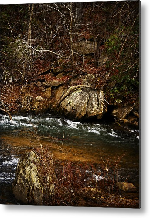 Black And White Metal Print featuring the photograph Creek by Mario Celzner