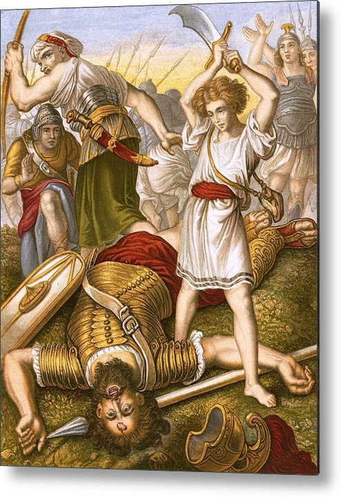 Bible Metal Print featuring the painting David Slaying Goliath by English School