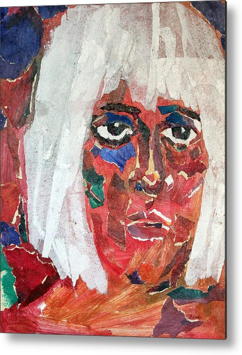 Mixed Media Portrait Metal Print featuring the mixed media Diane by Diane Fine