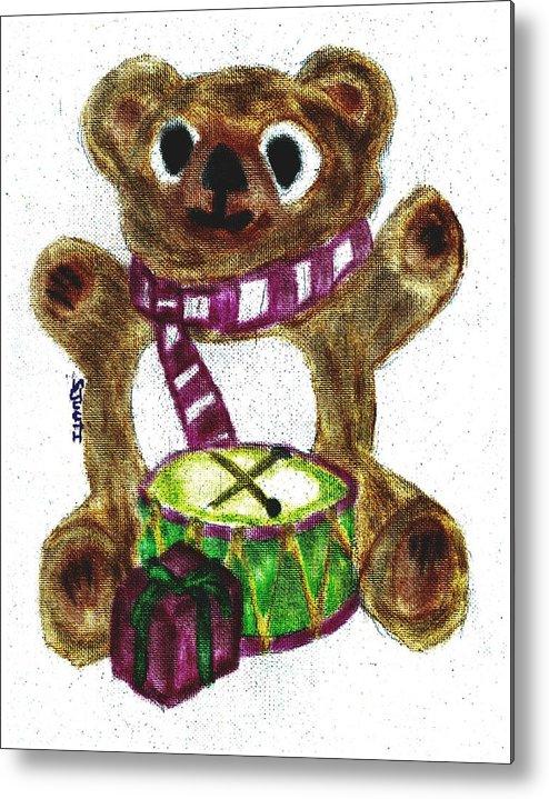 Teddybear Metal Print featuring the pastel Drummer Teddy by Shaunna Juuti