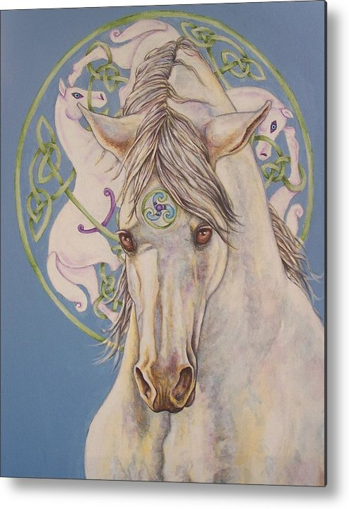Celtic Metal Print featuring the painting Epona The Great Mare by Beth Clark-McDonal