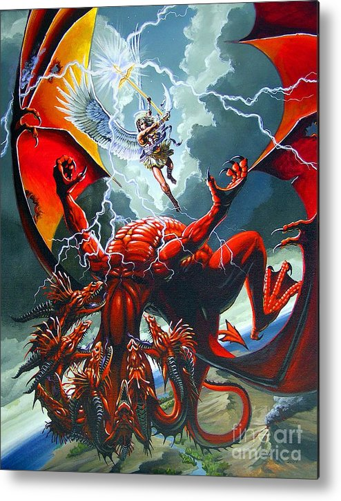 Dragon Metal Print featuring the painting Fall Of The Hydra by Stanley Morrison