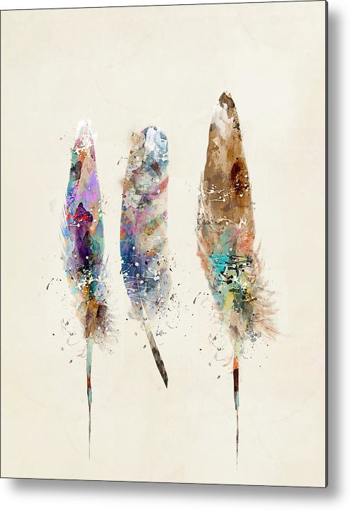 Feathers Metal Print featuring the painting Feathers by Bri Buckley