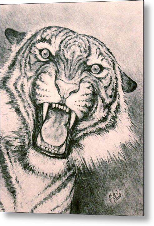 Tiger Metal Print featuring the drawing Fierce by Kelci Pauk