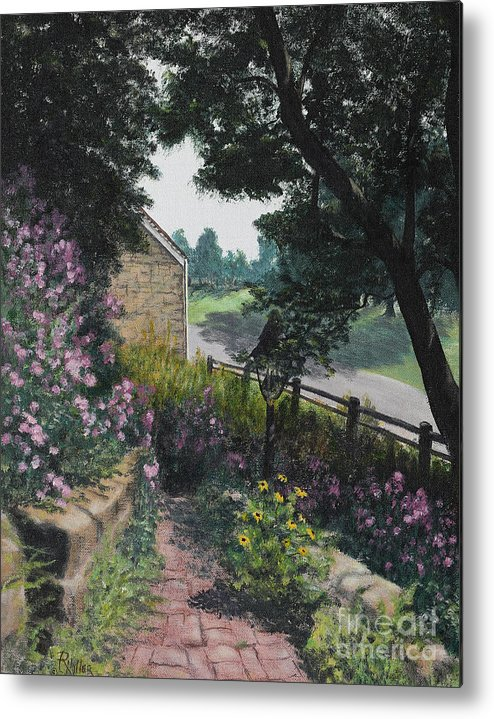 Garden Metal Print featuring the painting Garden At Pendarvis Mineral Point Wisconsin 1 by Rita Miller