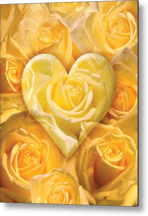 Alixandra Mullins Metal Print featuring the photograph Golden Heart Of Roses by Alixandra Mullins
