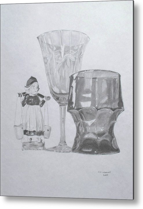 Glassware Metal Print featuring the drawing Grammas Glasses by Mary Ellen Mueller Legault
