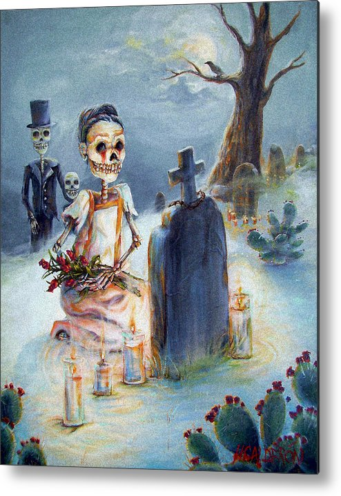Skeletons Metal Print featuring the painting Grave Sight by Heather Calderon