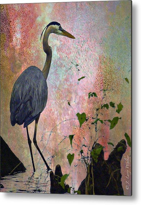 J Larry Walker Metal Print featuring the digital art Great Blue Heron Among Cypress Knees by J Larry Walker