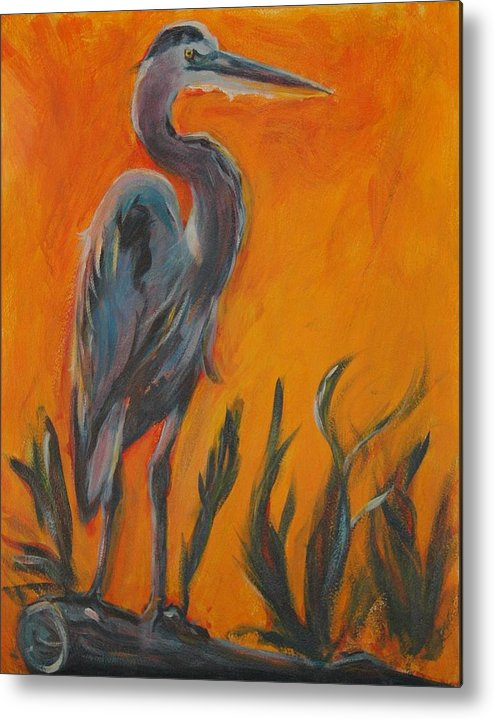 Wildlife Metal Print featuring the painting Great Blue by Stephanie Allison