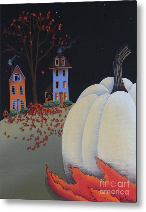 Art Metal Print featuring the painting Halloween On Pumpkin Hill by Catherine Holman