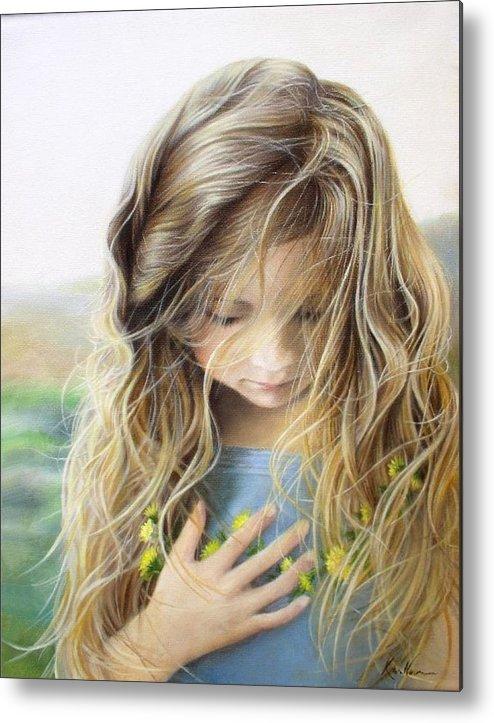 Young Girl Metal Print featuring the painting Hannah by Karen Kutoloski