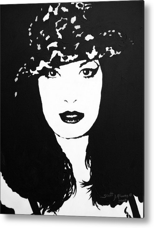 Portrait Metal Print featuring the painting Hat by Scott Alcorn