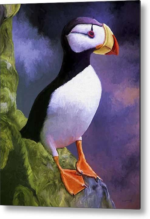 Animal Metal Print featuring the painting Horned Puffin by David Wagner