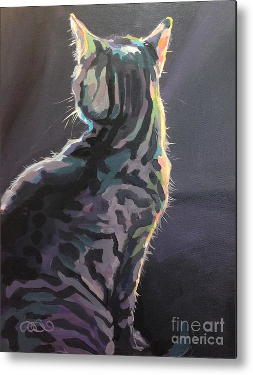 Gray Tabby Metal Print featuring the painting I'm Not Listening by Kimberly Santini