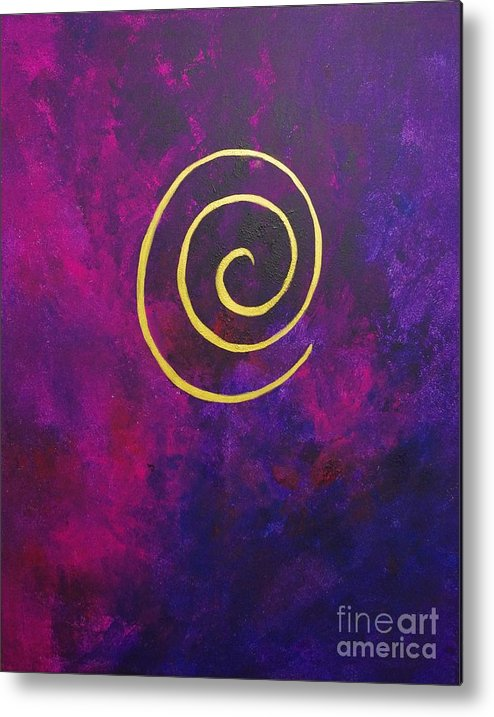Infinity Metal Print featuring the painting Infinity - Deep Purple With Gold by Philip Bowman