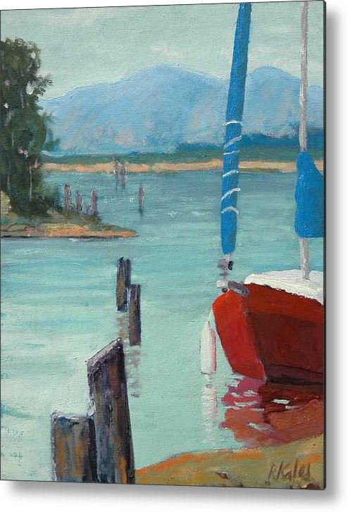 Metal Print featuring the painting Inlet With Sailboat  Laconner Wa by Raymond Kaler