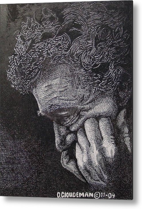 Portraiture Metal Print featuring the drawing Introspection by Denis Gloudeman