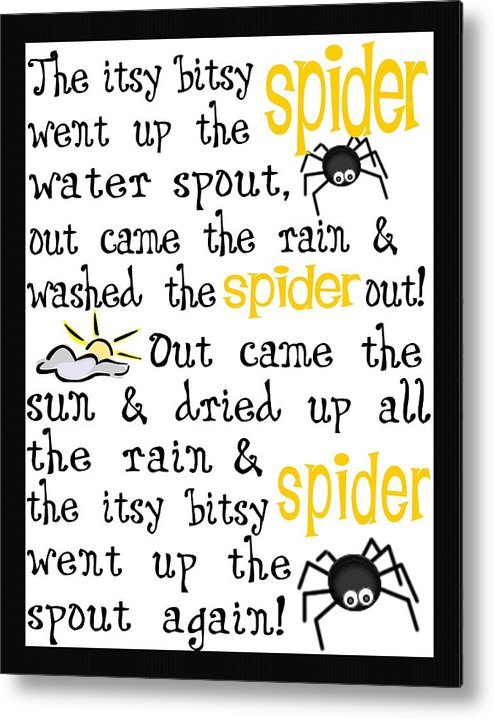 Itsy Bitsy Spider Metal Print featuring the digital art Itsy Bitsy Spider by Jaime Friedman