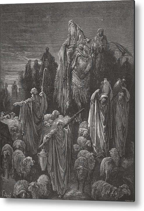Famine Metal Print featuring the painting Jacob Goeth Into Egypt by Gustave Dore