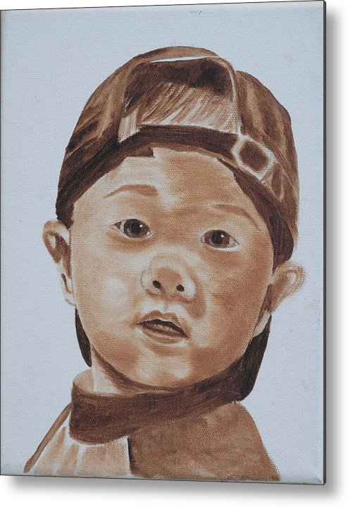Portraits Metal Print featuring the painting Kids In Hats - Young Baseball Fan by Kathie Camara