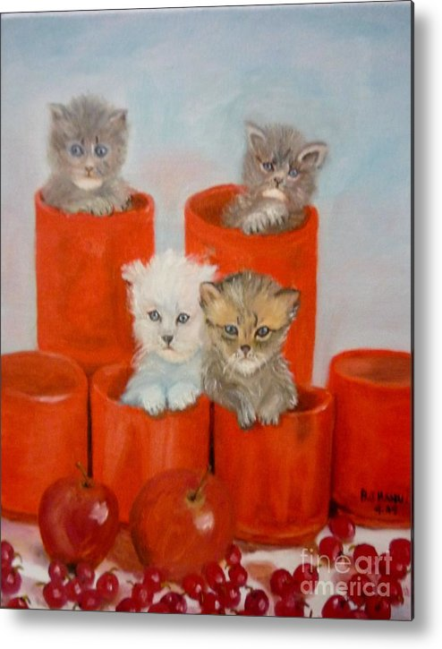 Kittens Metal Print featuring the painting Kittens Ajar by Beverly Hanni