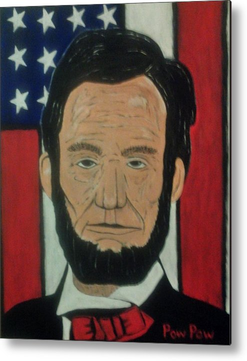 Lincoln.flag.stars And Stripes.pow Pow Metal Print featuring the painting Lincoln3 by Bobby Moss
