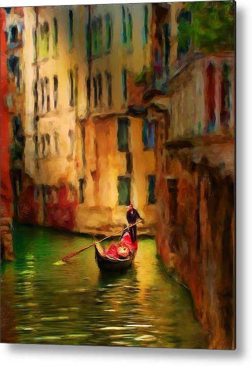 Italy Metal Print featuring the digital art Lone Gondolier by Cary Shapiro