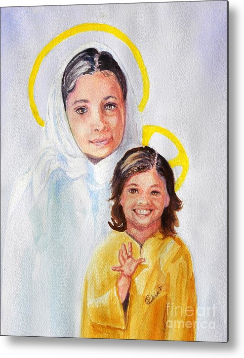 Mary And Jesus Metal Print featuring the painting Madonna And Child by Susan Lee Clark