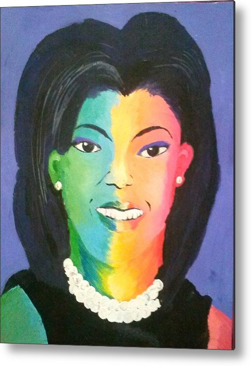 Michelle Obama Metal Print featuring the painting Michelle Obama Color Effect by Kendya Battle