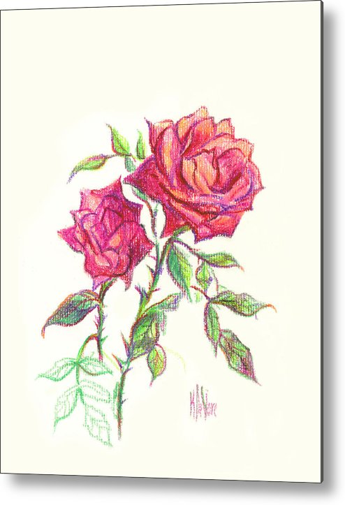 Nature Metal Print featuring the painting Minature Red Rose by Kip DeVore