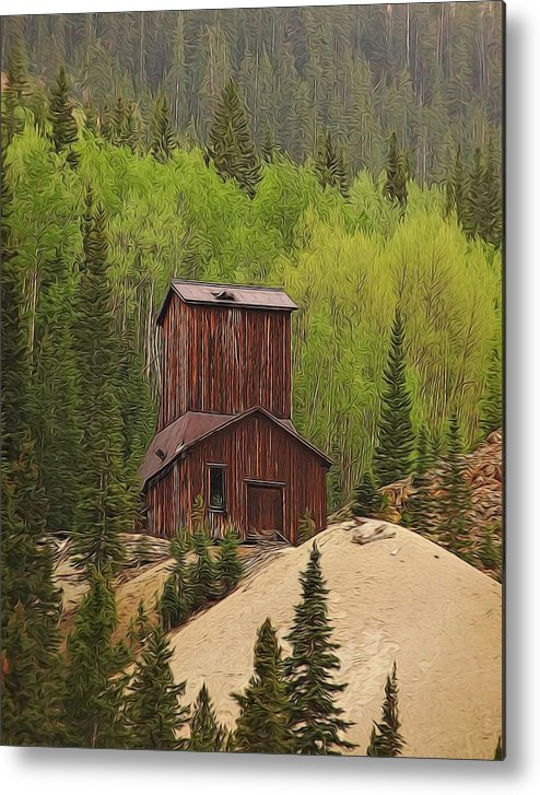 Old Mining Building Silverton Colorado Metal Print featuring the digital art Mining Building In Colorado by Dan Sproul