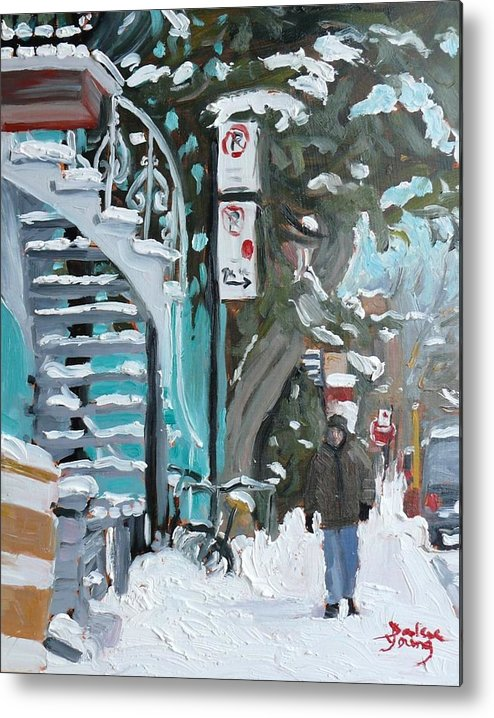Cityscape Metal Print featuring the painting Montreal Winter Scene Mile End by Darlene Young