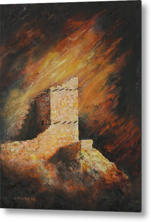 Anasazi Metal Print featuring the painting Mummy Cave Ruins 2 by Jerry McElroy