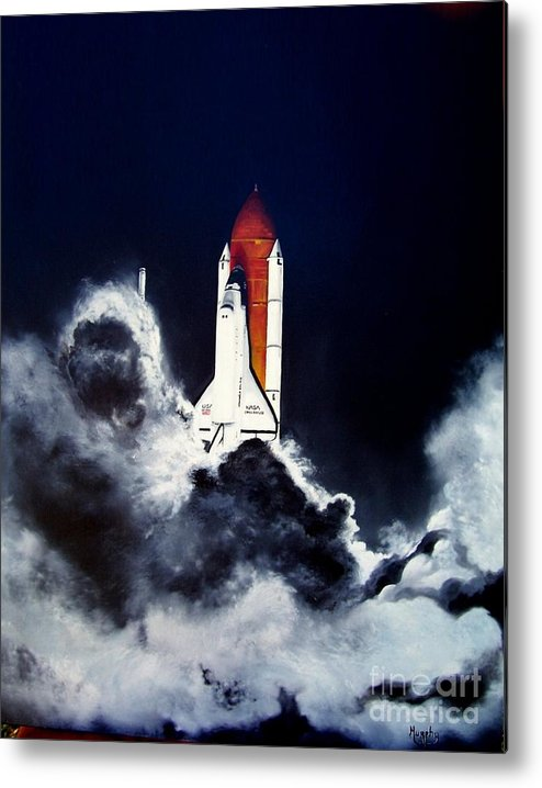 Oil Metal Print featuring the painting Night Launch by Murphy Elliott