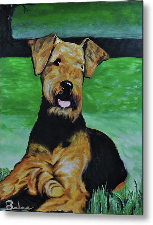 Airedale Art Metal Print featuring the painting No Worries by Ruben Barbosa