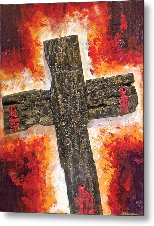 Deep Metal Print featuring the painting Old Rugged Cross by Jim Ellis
