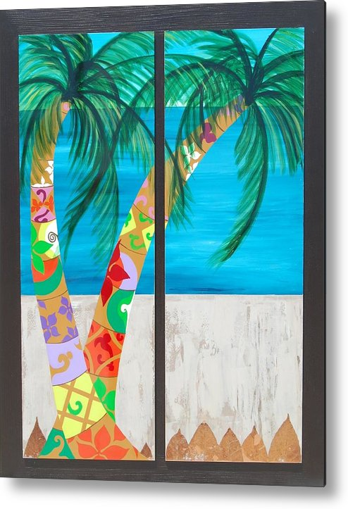 Palm Metal Print featuring the painting On The Beach by Pablo Ontaneda