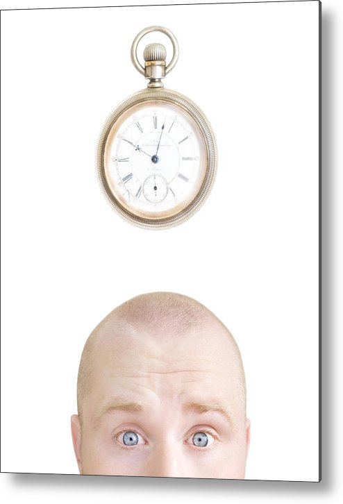 30-35 Years Metal Print featuring the photograph Part Of A Mans Head And A Stop Watch by Chris and Kate Knorr