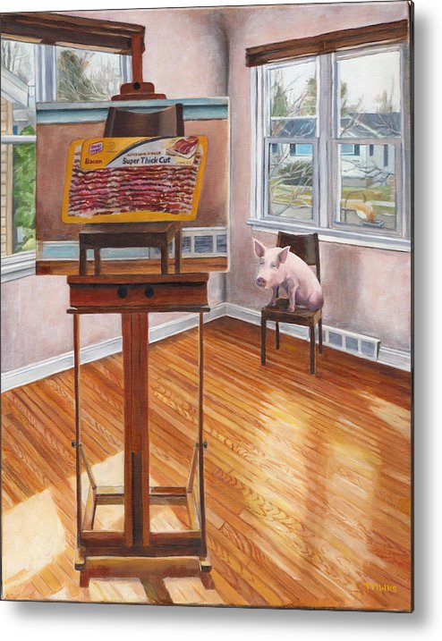 Pig Metal Print featuring the painting Portrait Of Bacon by Thomas Weeks