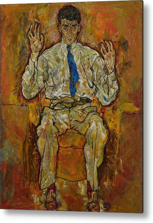 Portrait; Male; Seated; Full-length; Painting; Expressionist; Expressionistic; Expressionism; Tie; Creative; Paris Von G�tersloh; Von Gutersloh; Man; Psychological; Intense; Intensity; Egon Metal Print featuring the painting Portrait Of Paris Von Gutersloh by Egon Schiele