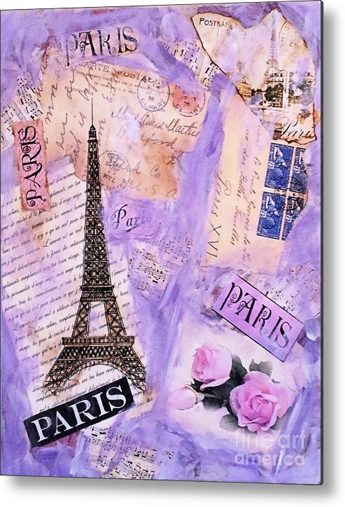 Art;vintage;paris;eiffel Tower;postcard;roses;french;france;mixed Midea;unique;one Of A Kind Metal Print featuring the mixed media Postcard From Paris by Ruby Cross