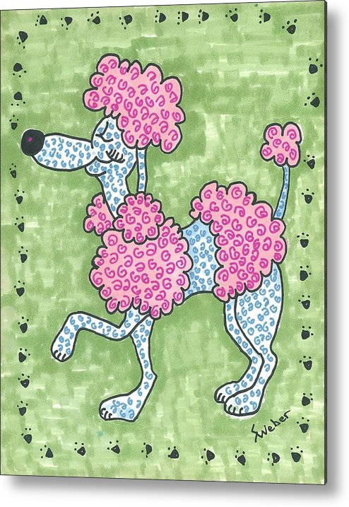 Poodle Metal Print featuring the painting Prissy Poodle by Susie Weber