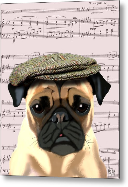 Pug Framed Prints Metal Print featuring the digital art Pug In A Flat Cap by Kelly McLaughlan